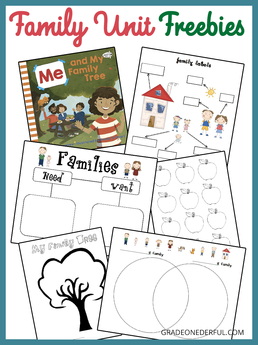 Learning about families in Kindergarten and Grade 1. Several free printables such as needs and wants, family labels, and family tree.