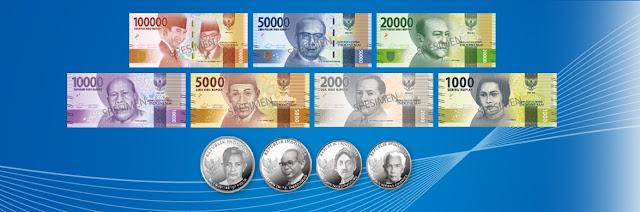 Specimen uang Rupiah baru tahun emisi 2016. Foto : BI.