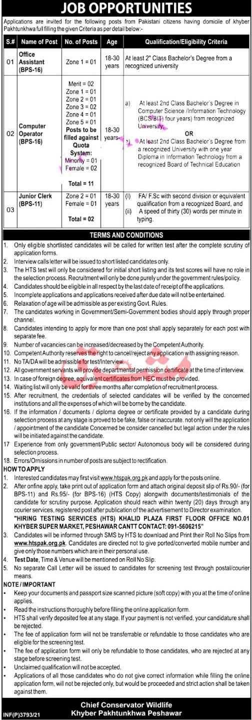 Wildlife Department KPK Latest Jobs 2021 – Apply Online