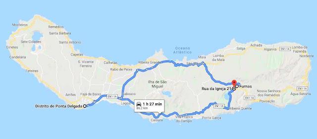 ruta en coche Furnas Azores
