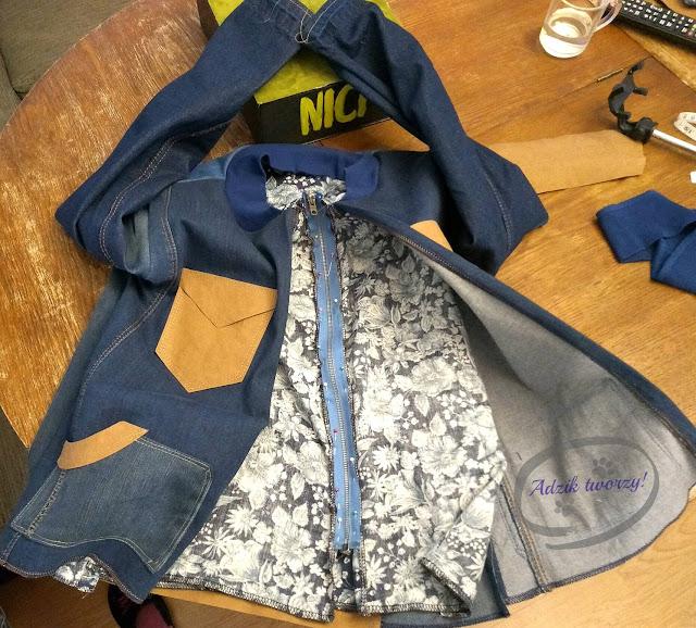 kurtka jeansowa DIY wszywanie podszewki