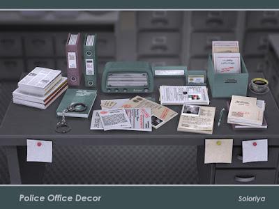 Police Office Decor Полицейский офисный декор для The Sims 4 Необходимые декоративные предметы для вашего отделения полиции. Только симлиш буквы. Набор включает в себя 13 декоративных элементов, имеет 3 цветовые палитры. Предметы в наборе: - пять видов различных документов и дел - коробка с бумагами - три вида офисных файлов и папок - декоративное радио - книга с наручниками - чашка кофе - держатель визиток - табличка. Автор: soloriya