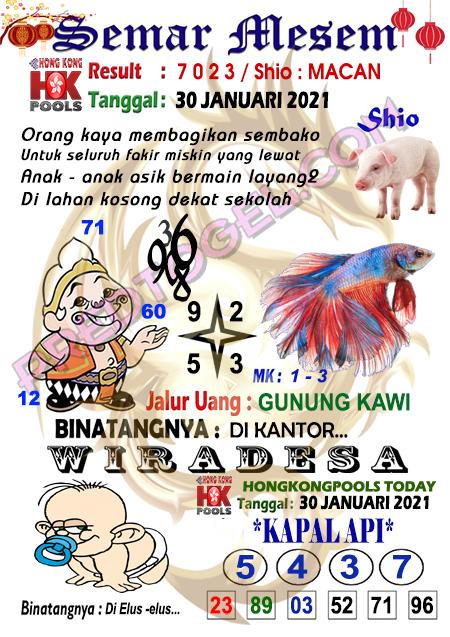 Syair HK Semar Mesem Sabtu 30 Januari 2021