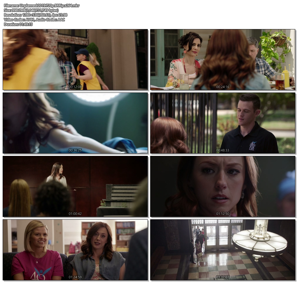 Unplanned 2019 720p BRRip x264 | 480p 300MB | 100MB HEVC Screenshot