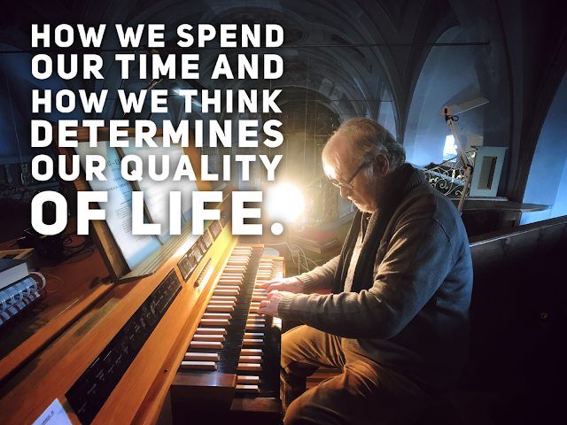 an old man playing piano with a quote about Facebook.