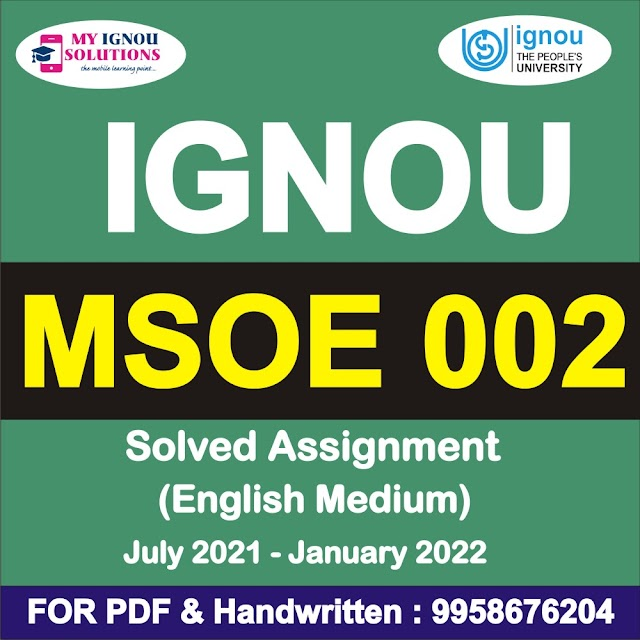 MSOE 002 Solved Assignment 2021-22