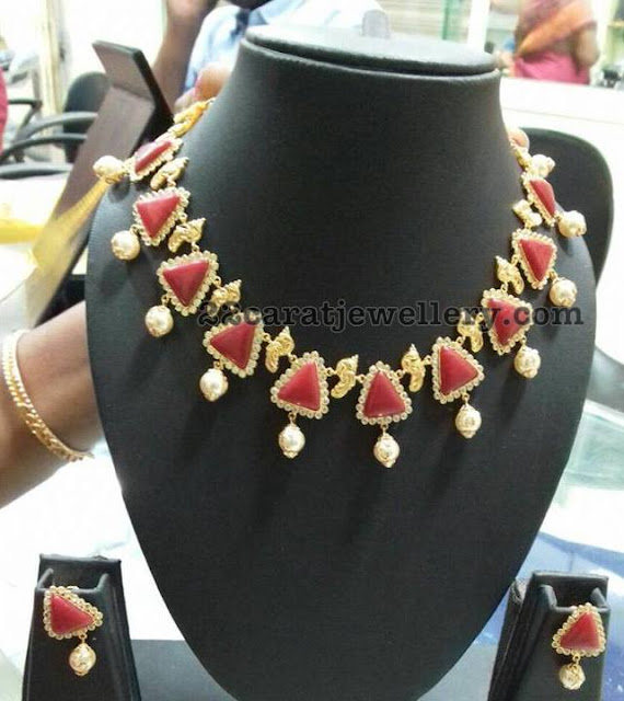 Fancy Style Ruby Emerald Necklaces