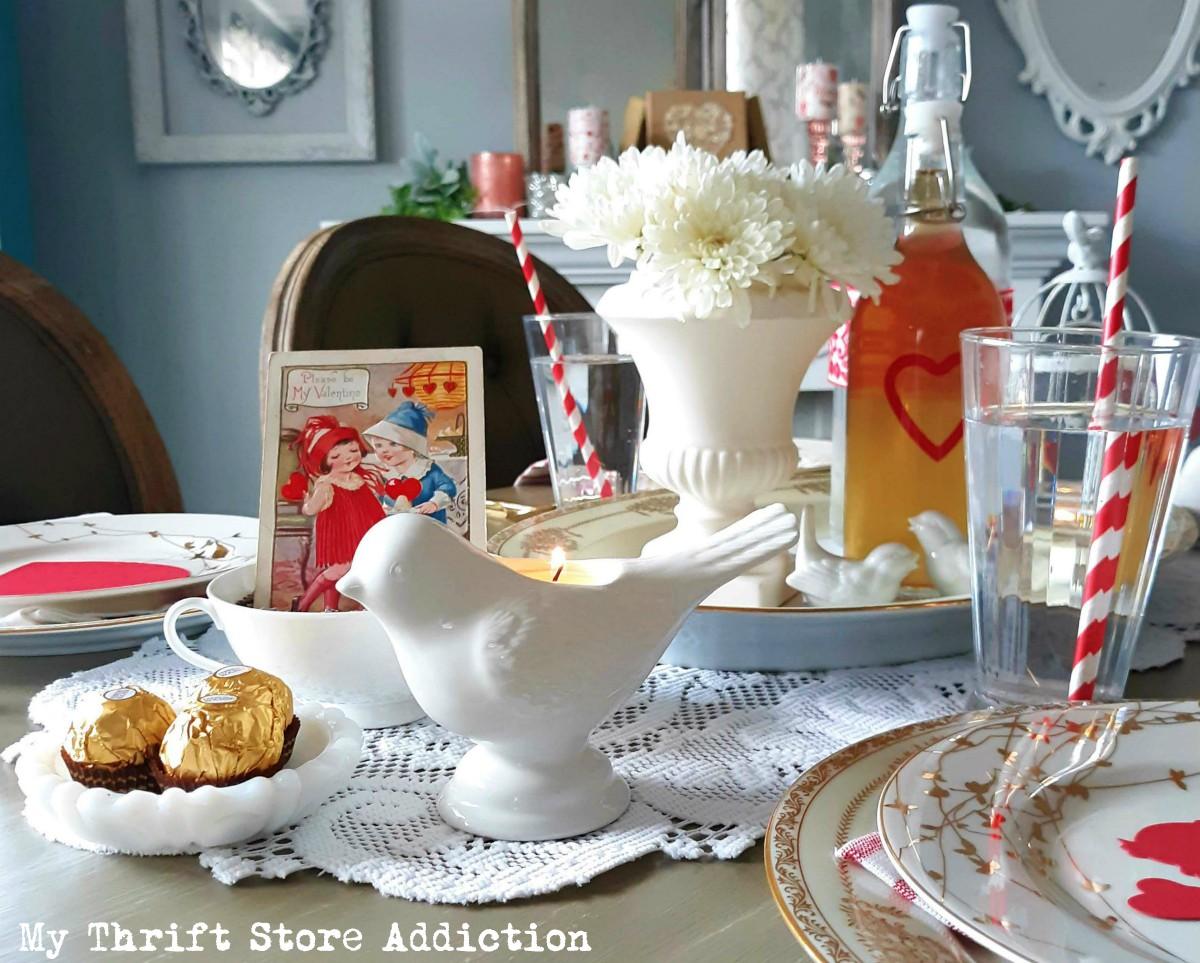 vintage valentine tablescape