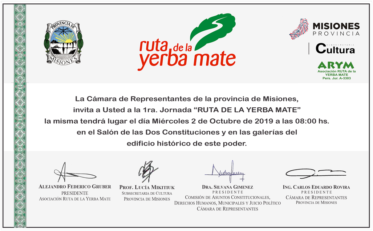 Tarjeta Invitación Programa Jornada Ruta Yerba Mate En