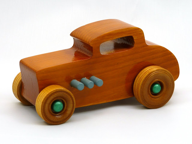 Left Front - Wooden Toy Car - Hot Rod Freaky Ford - 32 Deuce Coupe - Pine - Amber Shellac - Metallic Green - Gray
