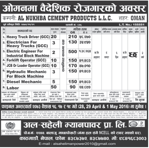 Jobs For Nepali In Oman, Salary -Rs.1,38,265/