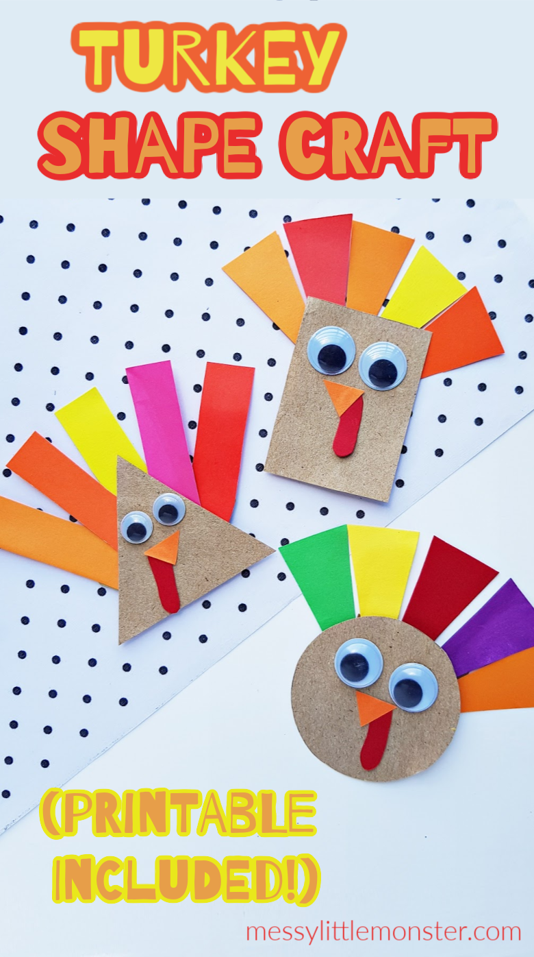 Shape turkey craft for preschoolers. An easy thanksgiving craft for kids with turkey template. A fun shape activity for toddlers.