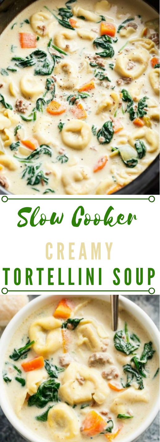 SLOW COOKER CREAMY TORTELLINI SOUP #soup #vegan #vegetarian #slowcooker #dinner
