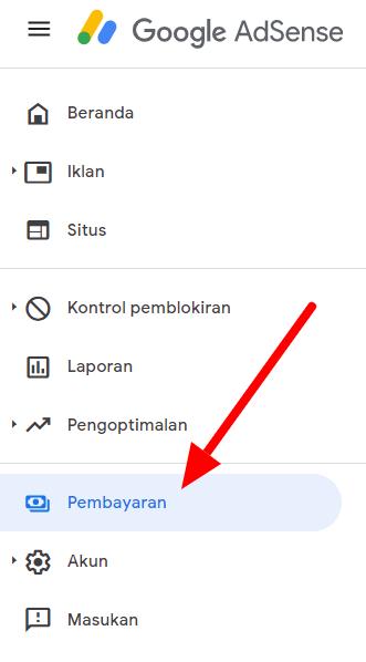 Menu pembayaran google adsense