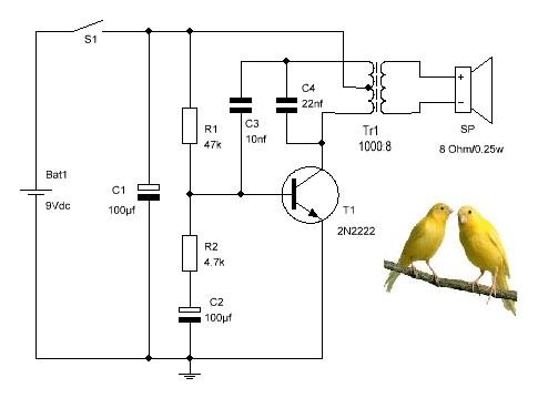 Canario electrónico diagrama esquemático.