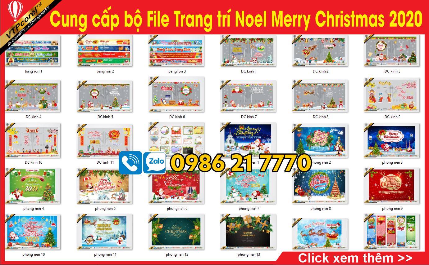 Cung cấp bộ file Trang trí Noel Merry Christmas 2020 CDR12  VTPcorel