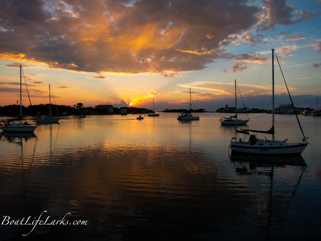 Sailboats at sunset, Silver Lake, Ocracoke, Outer Banks, NC