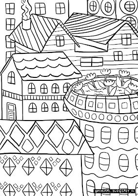 A coloring page of houses / Värityskuva taloista
