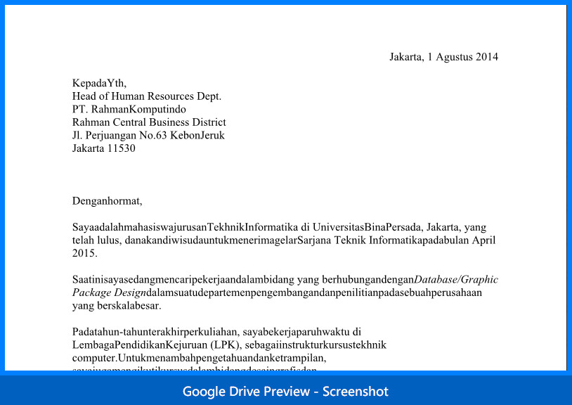 Contoh Surat Lamaran Kerja Bagian Informationtechnology Atau Informatika - It