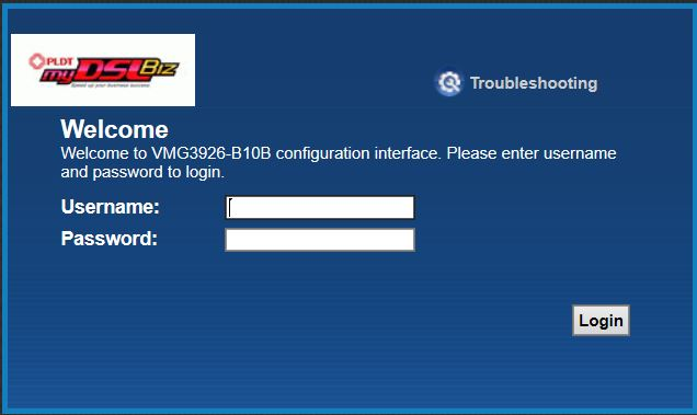 Default Username Password of PLDT BayanDSL Globe
