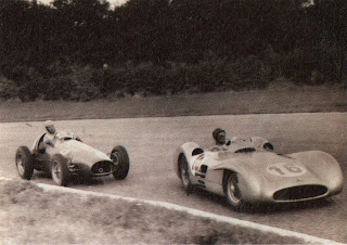 Ascari, in his Lancia, chases the legendary Argentina Juan Manuel Fangio, in a Mercedes, in a 1954 race