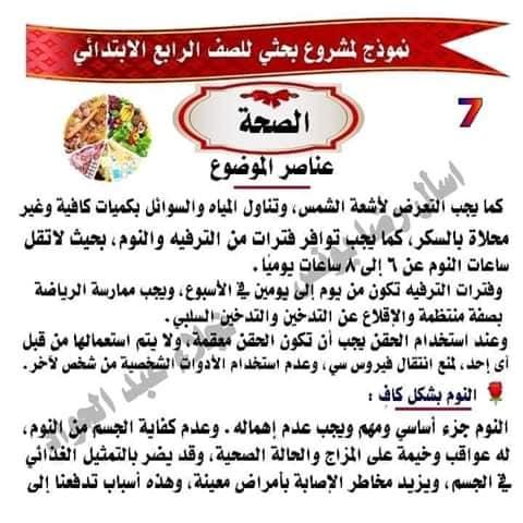 مشروع بحث عن الصحه للصف الرابع لميس نجلاء عبد الجواد 7