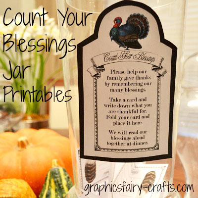 Count Your Blessings Jar Thanksgiving Printables The Graphics Fairy