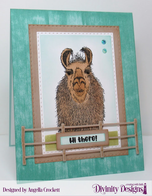 Divinity Designs LLC: LLama Tell You, Double Stitched Rectangles Dies, Farm Fence Die, Sentiment Strips with Layers Dies; Card Designer Angie Crockett