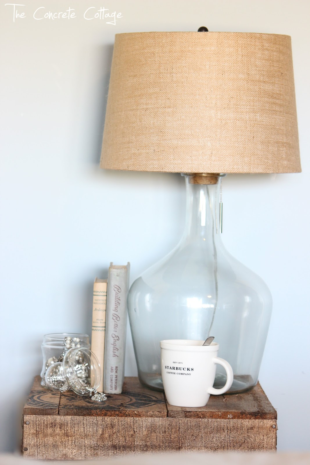 The Concrete Cottage Glass Bottle Lamp Diy Pottery Barn