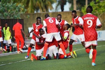 Williamsville Athletic Club (WAC) players celebrate one of their goals against Enyimba