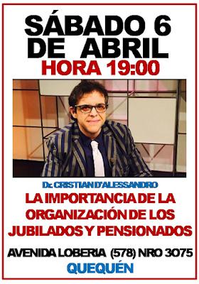 Charla sobre organización de jubilados en Quequén