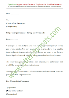 sample appreciation letter to employee for good performance