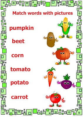 vegetables worksheet – match pictures and words