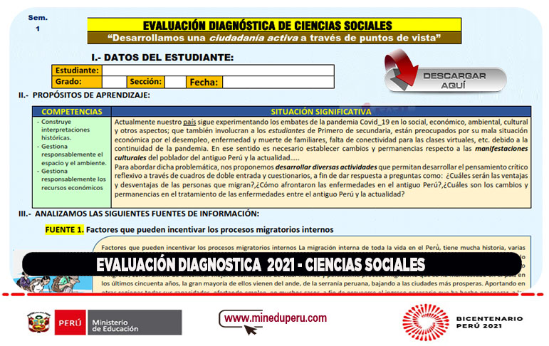 Evaluación diagnostica 2021