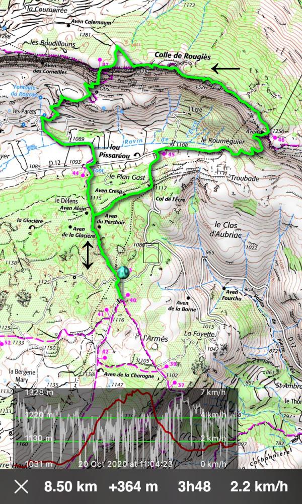 Colle de Rougiès hike track