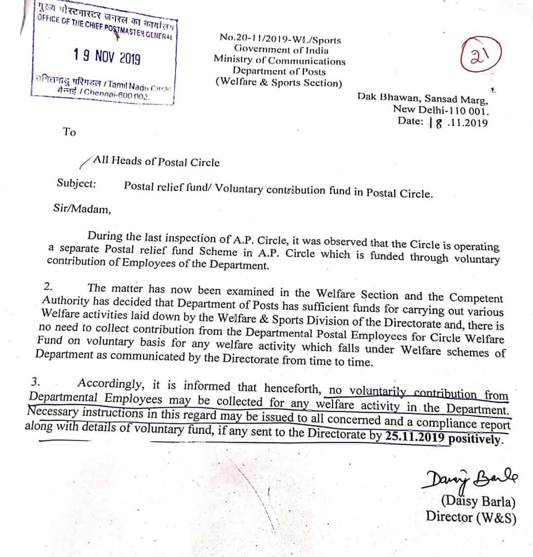 No voluntarily contribution or Postal Relief Fund from India Post Government Employees for any welfare activity in the Department
