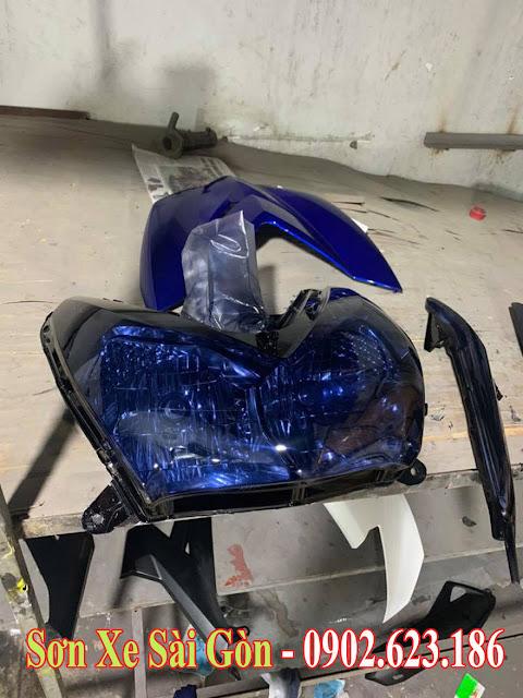 Sơn chóa đèn xanh pha lê cực đẹp cho xe máy tại TP.HCM