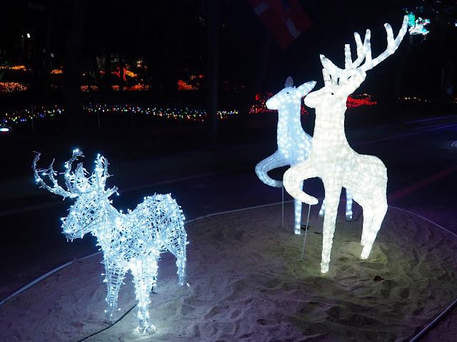 Family of deer - like Harry Potter's family - display at the Light Festival at the Yulpo Beach area of Boseong Green Tea Plantation, South Korea