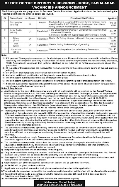 Office of the District and session judge Jobs 2019