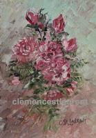 Réconfort, huile 7 x 5 par Clémence St-Lauren - gerbe de roses rouges