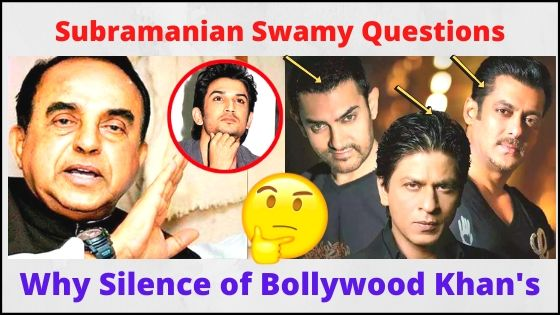Subramanian Swamy Questions the Silence of Bollywood Trio Khan in Sushant Case
