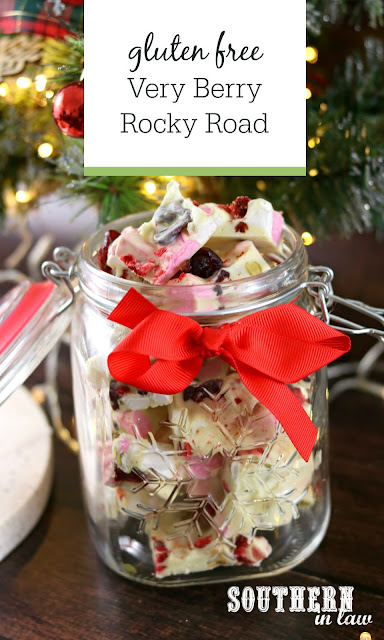 Gluten Free Very Berry Rocky Road Recipe - christmas recipes, homemade christmas gifts, treats, dessert
