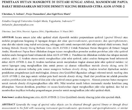 Pemetaan Hutan Mangrove di Estuari Sungai Andai, Manokwari Papua Barat [Paper]