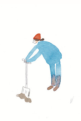 witty illustration girl digging
