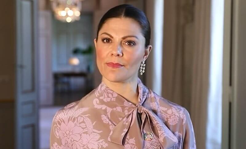 Crown Princess Victoria wore a floral-jacquard dress from Acne Studios, and rose gold poppy earrings with diamonds from Kreuger Jewellery