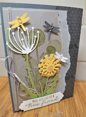 Rhapsody in craft, Basic Gray, Garden Wishes, Dandy Wishes Dies, Dragonflies Punch, Natural Textures, Friendship Cards, Annual Catalogue 2021-22, Stampin' Up, #colourcreationsbloghop2021, #colourcreationsbloghop