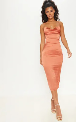 Rust Strappy back Cowl Neck Midi prom dress