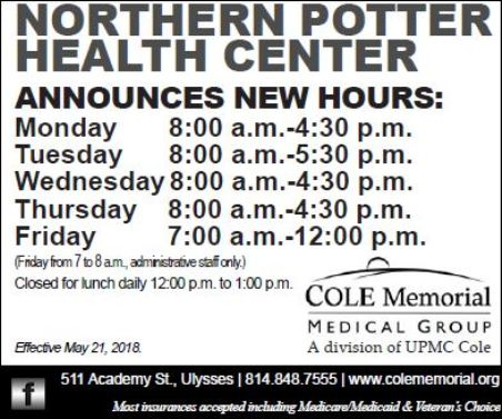 Northern Potter Health Center Hours