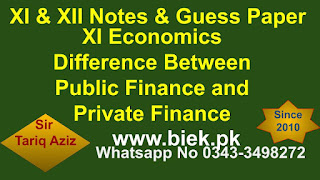 XI Economics Difference Between Public Finance and Private Finance