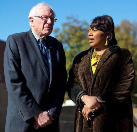 Democratic presidential candidate Senator Bernie Sanders meets with